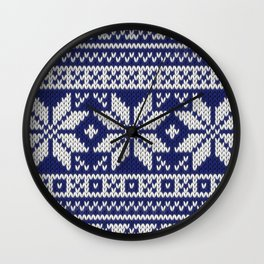 Winter knitted pattern 2 Wall Clock