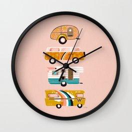 Retro Road Trip – Pink Palette Wall Clock