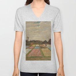Bulb Fields by Vincent van Gogh Unisex V-Neck