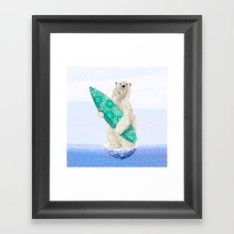 Polar bear & Surf (green) Framed Art Print