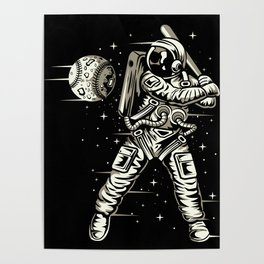 Space Baseball Astronaut Poster