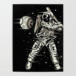 Space Baseball Astronaut Poster
