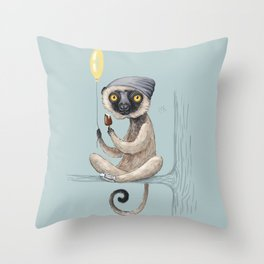 Sifaka with ice cream Throw Pillow