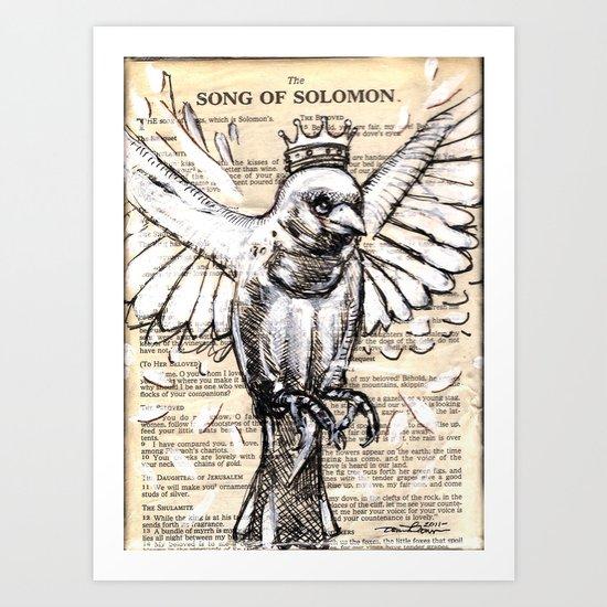 Crowned sparrow upward Art Print