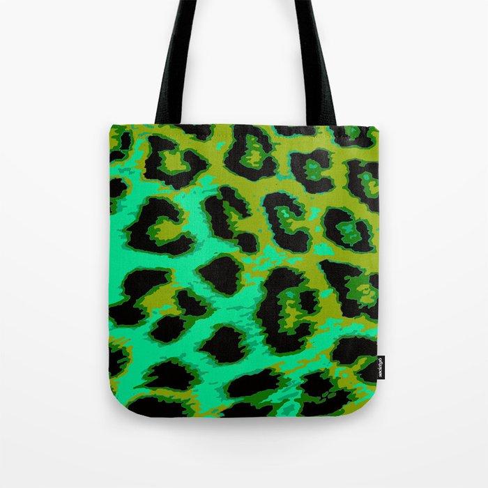 Aqua and Apple Green Leopard Spots Tote Bag