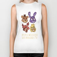 fnaf Biker Tanks featuring FNAF Five Nights At Freddy's by Kam-Fox