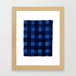 Buffalo Plaid Watercolor in Blue Framed Art Print