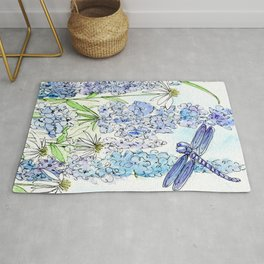 Watercolor Wildflower Garden Dragonfly Blue Flowers Daisies Rug