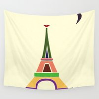 eiffel tower Wall Tapestries featuring Eiffel Tower by Losal Jsk