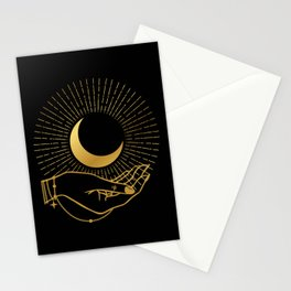 Black & Gold La Lune In Hand Stationery Cards