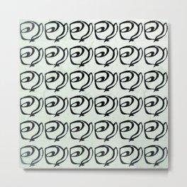 Rows of Flowers, Mint Green Metal Print
