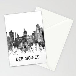 Des Moines Iowa Skyline BW Stationery Cards