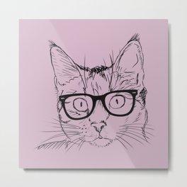 Hipster Cat in Plum Metal Print
