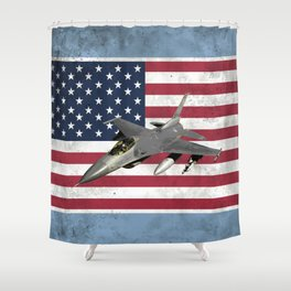 F16 Fighter Jet American Flag Shower Curtain