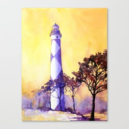 Fine art original watercolor painting of Cape Lookout lighthouse- Outer Banks, North Carolina Canvas Print