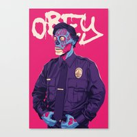 obey Canvas Prints featuring OBEY by Mike Wrobel