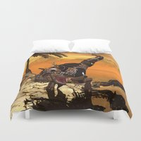 t rex Duvet Covers featuring T-rex with armor by nicky2342
