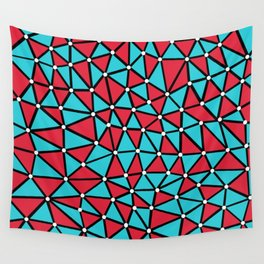 African Triangles Red and Blue Wall Tapestry