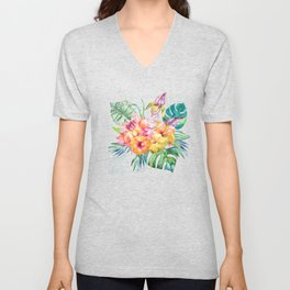 Tropical Hibiscus Garden Unisex V-Neck