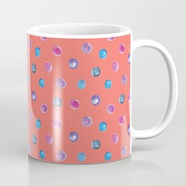 Living coral watercolor blue turquoise and violet polka dot pattern Coffee Mug