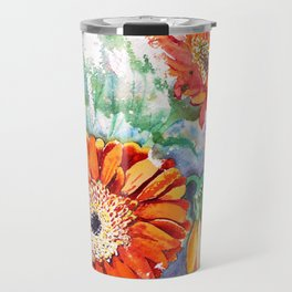 Gerbera Daisy Watercolor Travel Mug