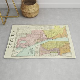Vintage Map Of The Railroads In Chicago From 1897 Rug