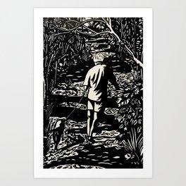 A man and his dog black & white Art Print