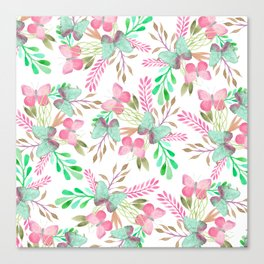 Pink teal watercolor cute hand painted butterfly floral Canvas Print