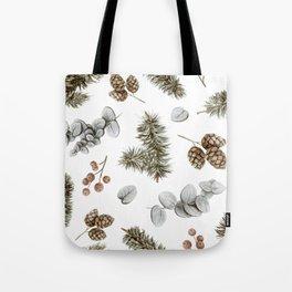 Retro Cozy Winter Cabin Water-colour Pattern Tote Bag