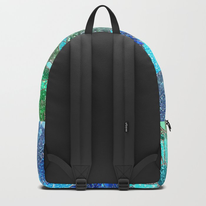 Aqua Green and Blue Glitter Flowers on #Society6 Backpack