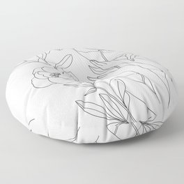 Minimal Line Art Woman with Peonies Floor Pillow