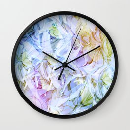 Soft Rainbow Floral Abstract Wall Clock