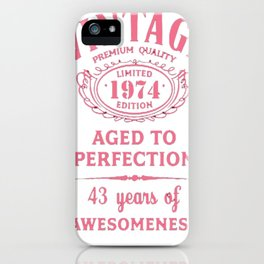 Pink-Vintage-Limited-1974-Edition---43rd-Birthday-Gift iPhone Case