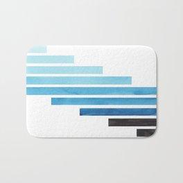 Cerulean Blue Midcentury Modern Minimalist Staggered Stripes Rectangle Geometric Aztec Pattern Water Bath Mat