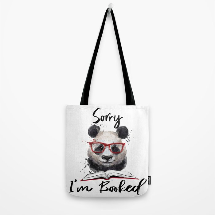 Sorry I'm Booked Reading Panda Tote Bag