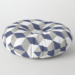 Geometric Cube Pattern - Concrete Gray, White, Blue Floor Pillow