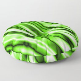 Shiny metal crooked mirror with green reflective diagonal stripes. Floor Pillow
