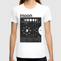 dark T-shirts featuring Phases of the Moon infographic by Nick Wiinikka