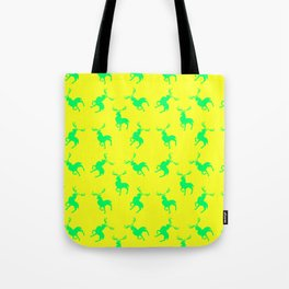 green moose silhouettes against bright yellow background pattern graphic design Tote Bag