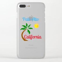 Palo Alto California Palm Tree and Sun Clear iPhone Case