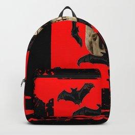 BAT INFESTED HAUNTED SKULL ON BLEEDING RED ON RED  ART Backpack