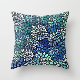 Stain Glass Floral Abstract - Blue-Green Throw Pillow