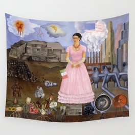 Frida Kahlo Self-portrait on the border line between Mexico and the United States, 1932 Wall Tapestry