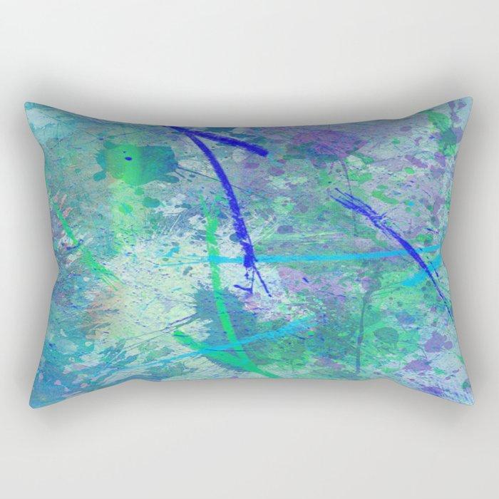 Aquatic Abstract - Blue and Green Rectangular Pillow