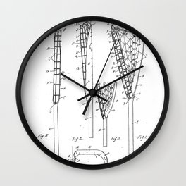 Lacrosse Stick Patent - Lacrosse Player Art - Black And White Wall Clock