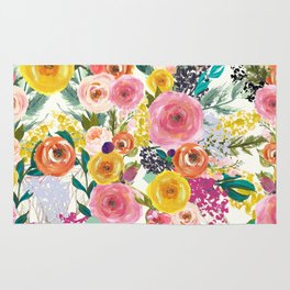 Autumn Blooms Colorful Painted Floral Print Rug