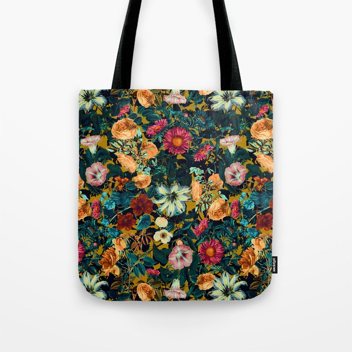 Floral Pattern Winter Garden Tote Bag