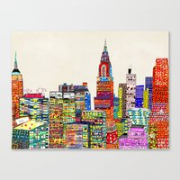 new york skyline Canvas Prints featuring new york city skyline by bri.buckley