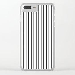 Garden Sludge Grey Pinstripe on White Clear iPhone Case