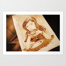 Girl Drinking Coffee - Coffee Art Art Print